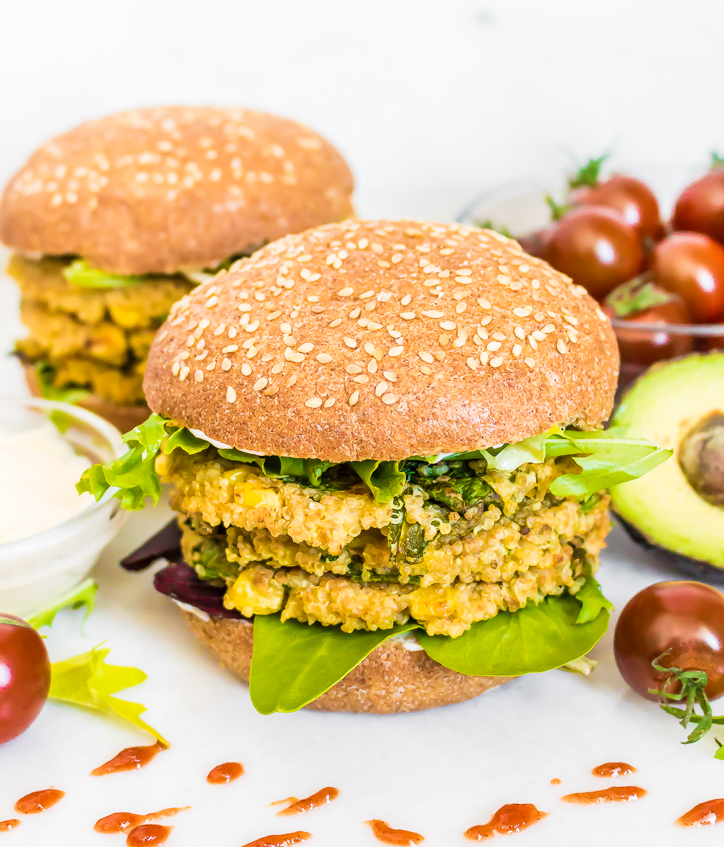 QUINOA CORN FETA BURGERS - My Digital Kitchen
